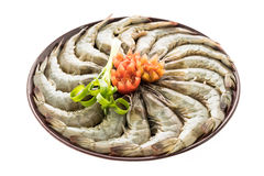 Raw prawn and shrimp in plate Royalty Free Stock Photos