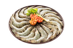Raw prawn and shrimp in plate. Isolated on white background - Seafood style Stock Photos