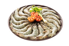 Raw prawn and shrimp in plate Stock Images