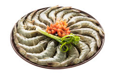 Raw prawn and shrimp in plate. Isolated on white background - Seafood style Stock Images