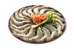 Raw prawn and shrimp in plate. Isolated on white background - Seafood style Stock Photography