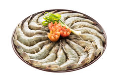 Raw prawn and shrimp in plate. Isolated on white background - Seafood style Royalty Free Stock Photography