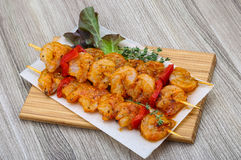 Raw prawn skewer. With spices ready for bbq Stock Photos