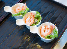 Raw prawn spicy salad. In buffet restaurant Stock Image