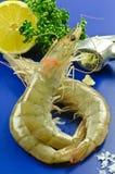 Raw prawns with garlic Stock Photo
