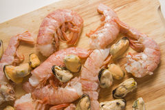 Raw prawns ready for cooking Royalty Free Stock Photo