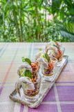 Raw prawns in spicy fish sauce. Thai style food Stock Photography
