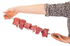 Raw preparation of a shish kebab Royalty Free Stock Images