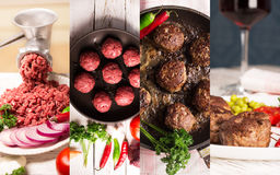 Raw and prepared meat. Collage from photos of raw and prepared meat Royalty Free Stock Photos