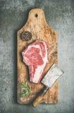 Raw prime beef meat steak rib-eye and chopper, top view