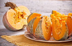 Raw pumpkin. Pieces of fresh raw pumpkin Royalty Free Stock Photography