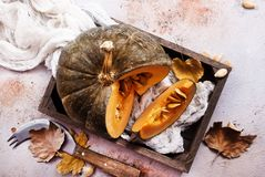Raw pumpkin. On a table, stock photo Royalty Free Stock Photography