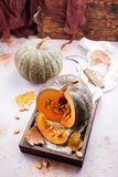 Raw pumpkin. On a table, stock photo Stock Images