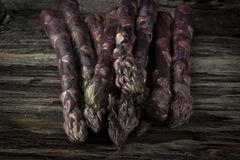 Raw Purple Asparagus in Close Royalty Free Stock Photo