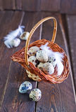 Raw quail eggs. In the basket and on a table Royalty Free Stock Photography
