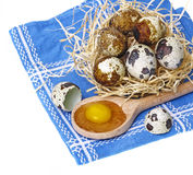 Raw quail eggs in a basket Stock Photo