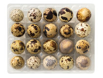 Raw quail eggs closeup. On a white background Stock Photography