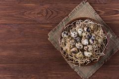 Raw quail eggs. Group of raw quail eggs on wooden background Royalty Free Stock Photography