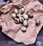 Raw quail eggs in shell on brown paper Stock Photography