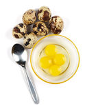 Raw quail eggs and spoon Royalty Free Stock Images
