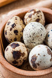 Raw quail eggs in a wooden bowl on burlap background. Raw quail eggs in a wooden bowl on a burlap background Royalty Free Stock Images