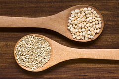 Raw Quinoa Grains and Popped Quinoa Royalty Free Stock Images