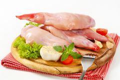Raw rabbit meat. Fresh rabbit meat on cutting board Royalty Free Stock Image