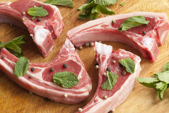 Raw rack lamb Stock Photography