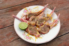 Raw rack of lamb on vintage plate. Marinated with mustard and herbs royalty free stock image