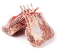 Raw rack of lamb, on white royalty free stock photo