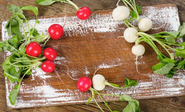 Raw radishes on a rustic wooden board. Stock Images