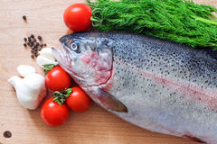 Raw rainbow trout on a cutting board with vegetables and spices Stock Photography