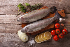 Raw rainbow trout with ingredients on a table. Horizontal top vi Stock Photos