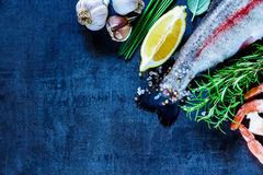Raw rainbow trout. Tail of raw rainbow trout and shrimps on black slate stone board, top view, copy space. Seafood with lemon, spices and herbs, preparation Stock Photo