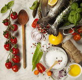 Raw rainbow trout with vegetables, herbs and spices. Health or Cooking concept Royalty Free Stock Image