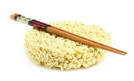 Raw ramen with chopsticks. Stock Photos