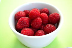 Raw raspberries bowl Stock Photography
