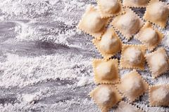Raw ravioli with flour on the table. horizontal top view Royalty Free Stock Image