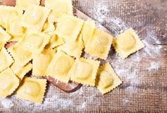 Raw ravioli with flour Royalty Free Stock Images