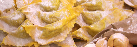 Raw ravioli made with fresh eggs and flour for sale Stock Photography