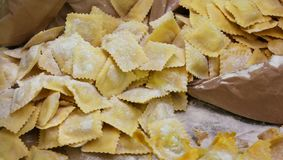 Raw ravioli made with fresh eggs and flour for sale Stock Photos