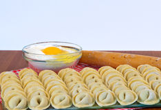 Raw ravioli in a row Royalty Free Stock Image