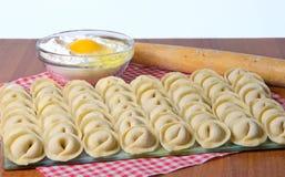 Raw ravioli in a row Stock Photos