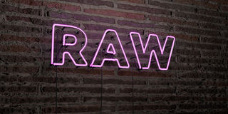 RAW -Realistic Neon Sign on Brick Wall background - 3D rendered royalty free stock image. Can be used for online banner ads and direct mailers Stock Photo