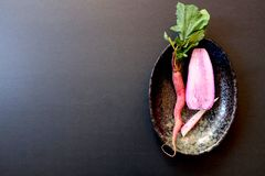 Raw red carrot and halved pink radish, right, top view, on oval back dish stock photo