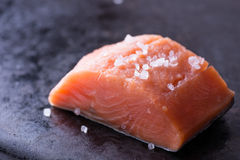 Raw red fish fillet. With sea salt on dark pan, close up, selective focus Stock Photo