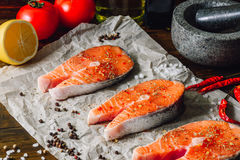 Raw Red Fish and Some Spices. Royalty Free Stock Photography