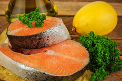 Raw red fish steak Stock Images