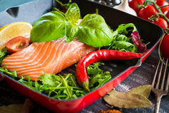 Raw red fish. With vegetables Stock Photography