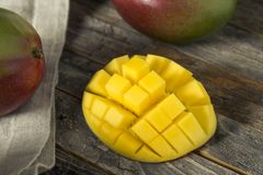 Raw Red Green Organic Mango Fruit. Ready to Eat Stock Image
